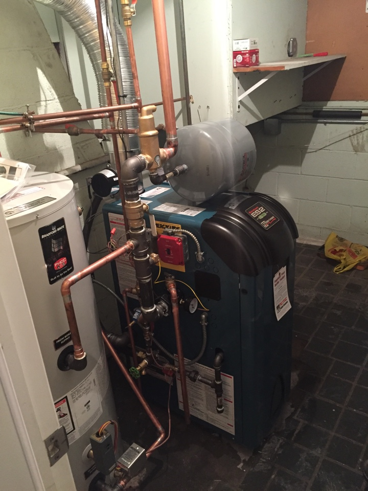 Mine Hill Township, NJ - Oil to gas conversion of a high efficiency Burnham ES2 hot water boiler and indirect hot water heater in Mine Hill, NJ.  Convert from oil to natural gas in Randolph, NJ.
