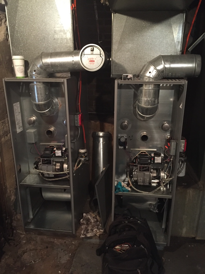 Roxbury Township, NJ - Heating service call. No warm air coming out of vents. Repair and replace nozzle and air filter on Armstrong oil fired warm air furnace.