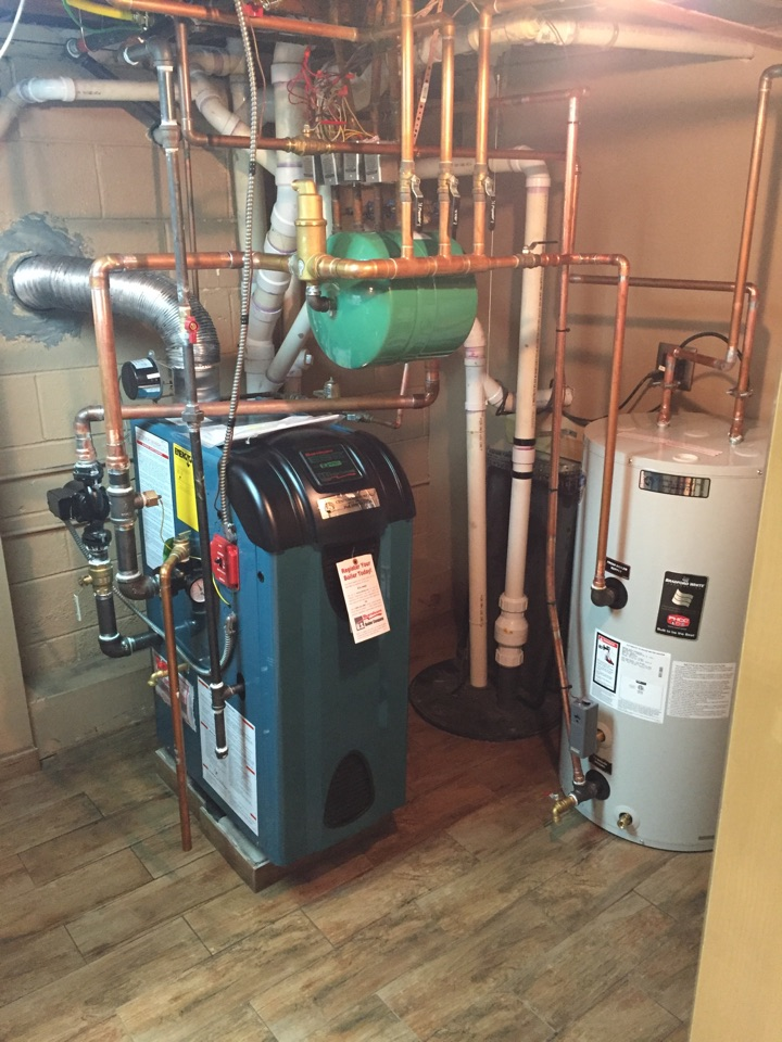 Netcong, NJ - Oil to gas conversion of a high efficiency Burnham boiler and indirect hot water heater.