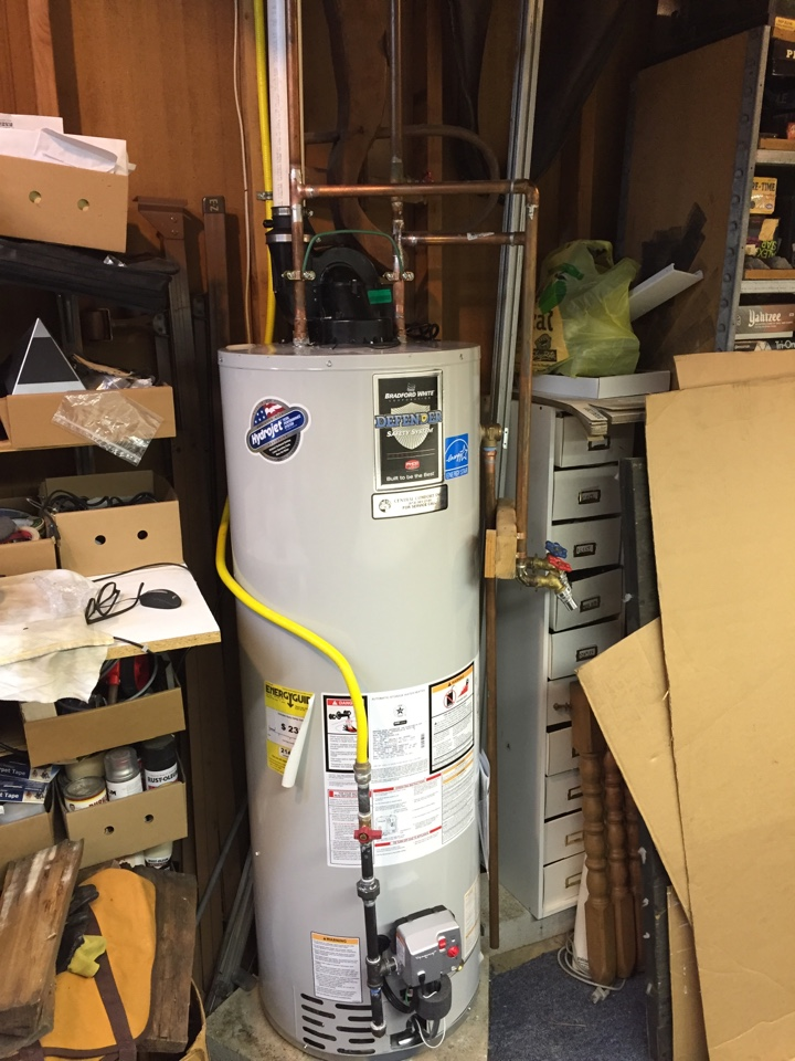 Mine Hill Township, NJ - Hot water heater replacement. Install new Bradford and White hot water heater.