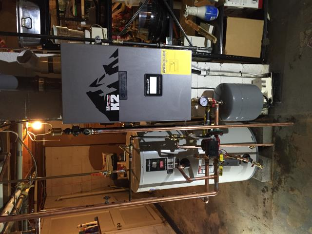 Mine Hill Township, NJ - Oil to gas conversion of a high efficiency condensing Burnham K2 boiler and a Bradford and White indirect hot water heater.  Convert from oil to gas.
