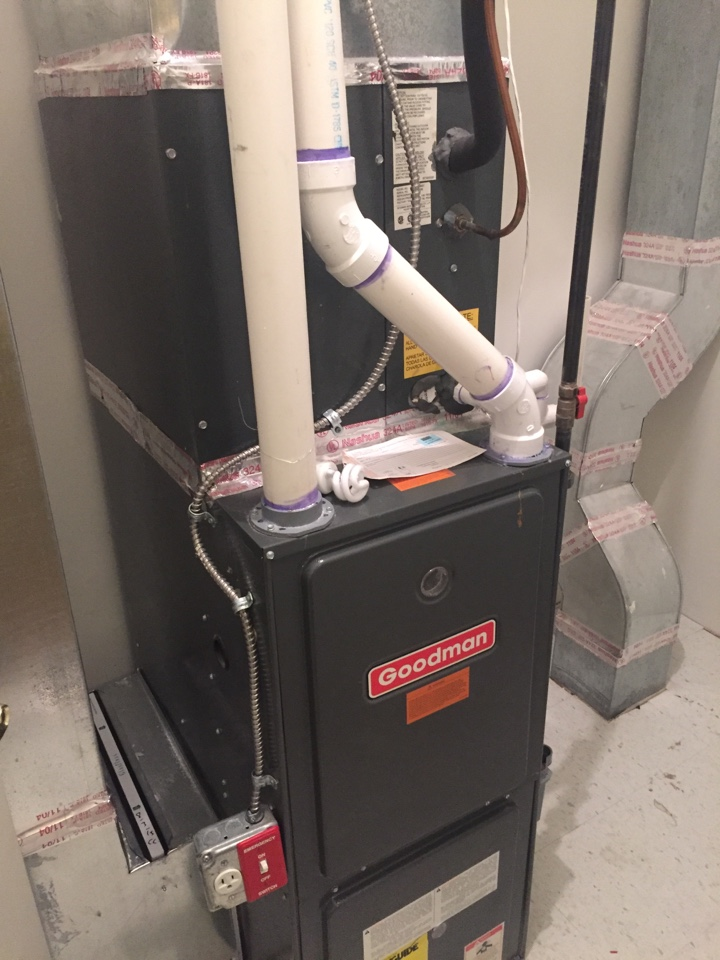 Mount Arlington, NJ - Heating service call. Unit not blowing warm air. Repair natural gas Goodman warm air furnace with new ignitor.
