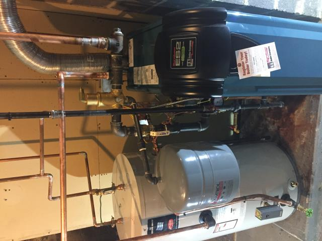 Roxbury Township, NJ - Oil to gas conversion of a high efficiency Burnham ES2 boiler and a Bradford and White indirect hot water heater.