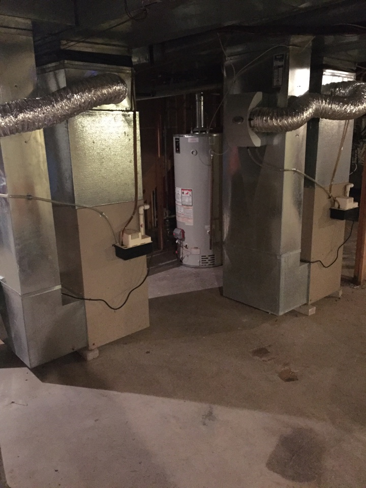 Washington Township, NJ - Heating repair. Units not blowing warm air. Replace condensate pump on LP York warm air furnace.