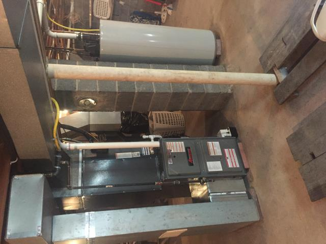 Jefferson, NJ - Oil to natural gas conversion of a high efficiency modulating Amana furnace with 2-stage air conditioning, and a Bradford and White power vent hot water heater.