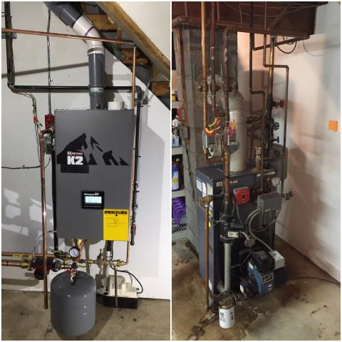 Rockaway, NJ - An oil to natural gas conversion of a condensing Burnham K2 boiler and indirect hot water heater in Rockaway, NJ.