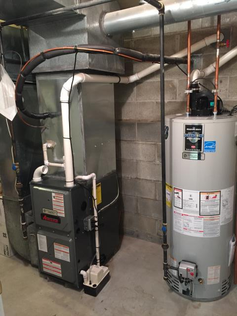 Rockaway, NJ - Propane to natural gas conversion of an Amana modulating warm air furnace and a Bradford and White power vent hot water heater.