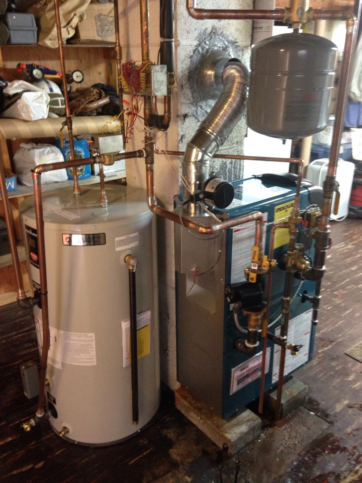 Mine Hill Township, NJ - Oil to gas conversion. Convert from oil to gas Burnham water boiler with indirect water heater in Mine Hill, NJ.