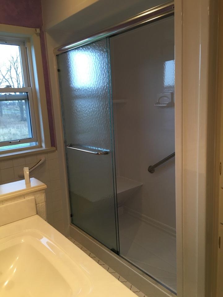 Pewamo, MI - Finished white smooth shower