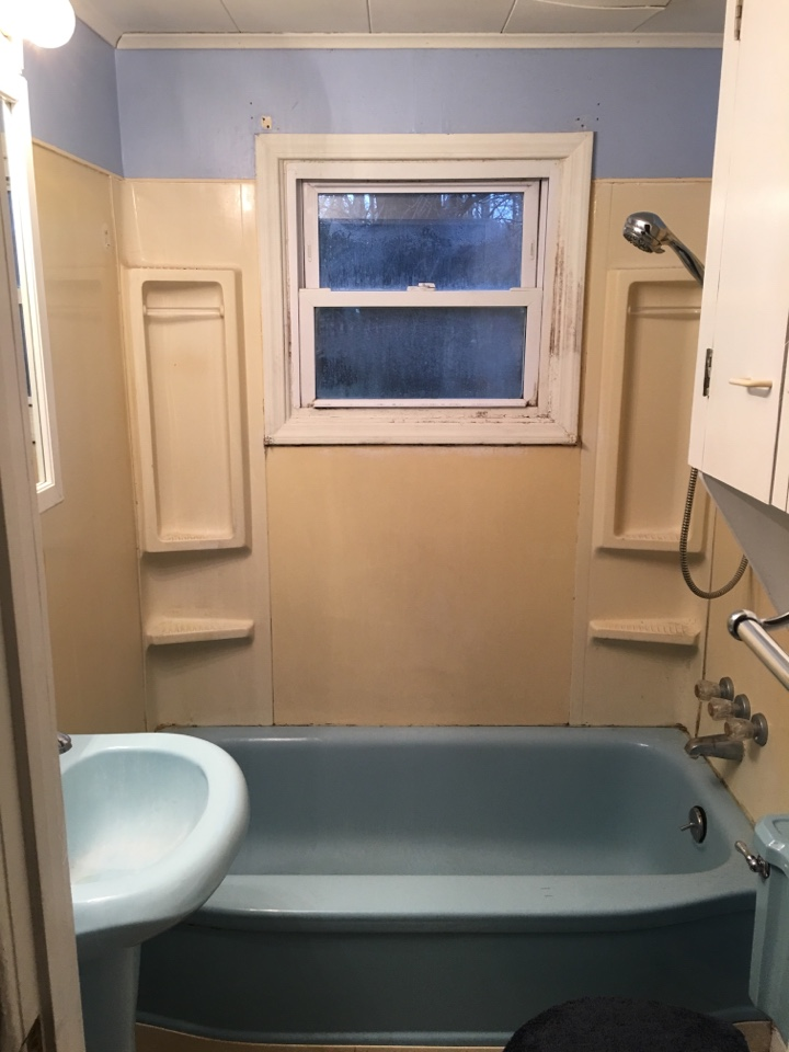 Interlochen, MI - Replacing ugly blue bath with new acrylic shower and walls