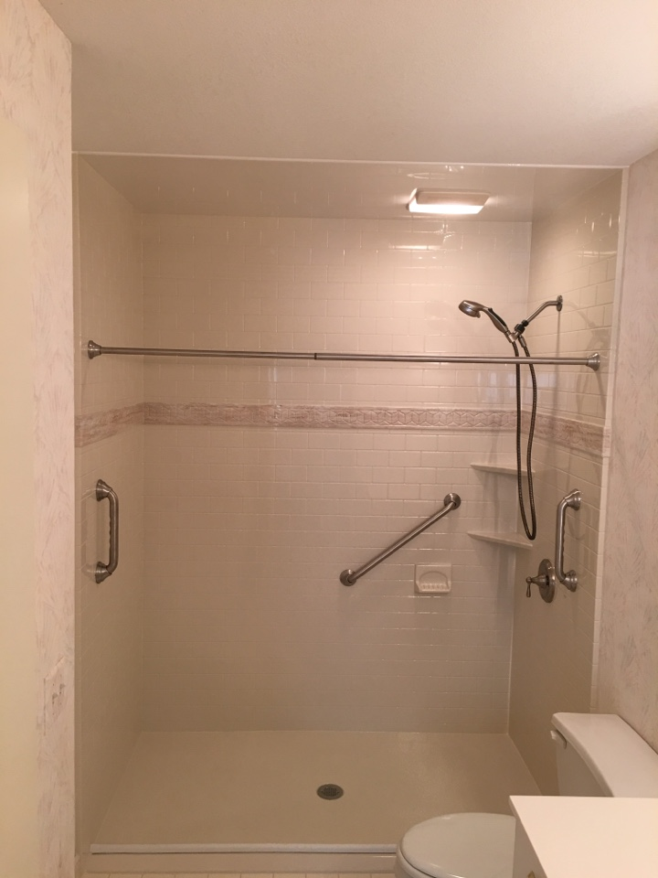 Traverse City, MI - Finished acrylic quarry topaz subway tile pattern, barrier free shower pan with brushed nickel finishes
