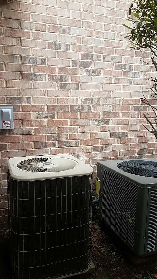 Garland, TX - Performing an a/c check up on a Lennox air conditioning & Rheem air conditioning system for our new customer at their home in Garland, TX.