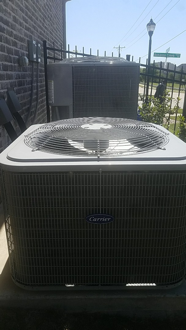 Frisco, TX - Performing an a/c tune up for our customer and his family on his two Carrier air conditioning systems at his home in Frisco, TX.