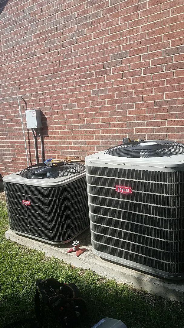 Allen, TX - Servicing our friend and neighbor Mark's, two Bryant air conditioning systems at his home in Allen, TX.