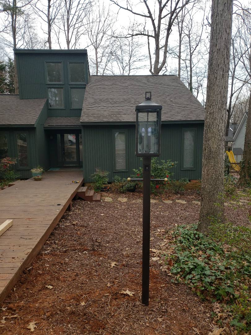 Installed lamp post in front yard