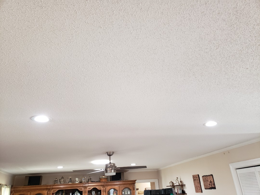 Install customer supplied ceiling fan and add 4 led can trims
