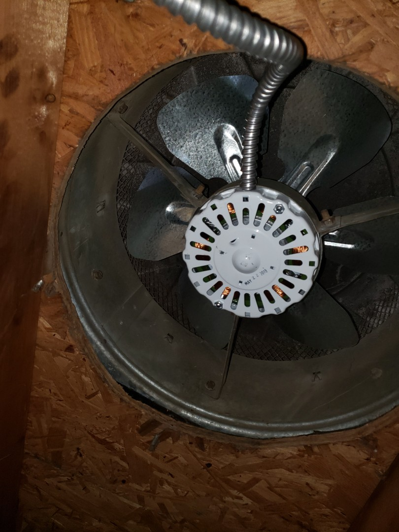 Install customer supplied attic fan