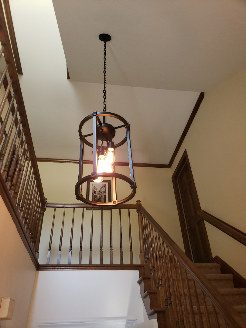 Install customer supplied lights and ceiling fan