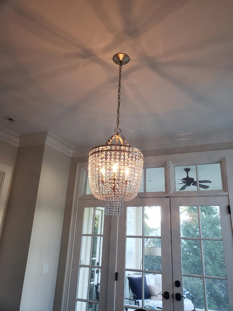 Installed customer supplied chandelier