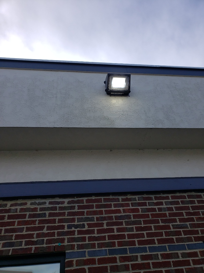 Install new led wall pack lights in front entrance