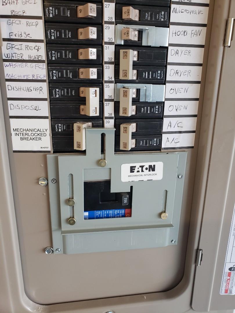 Install generator interlock kit and install customer supplied lights