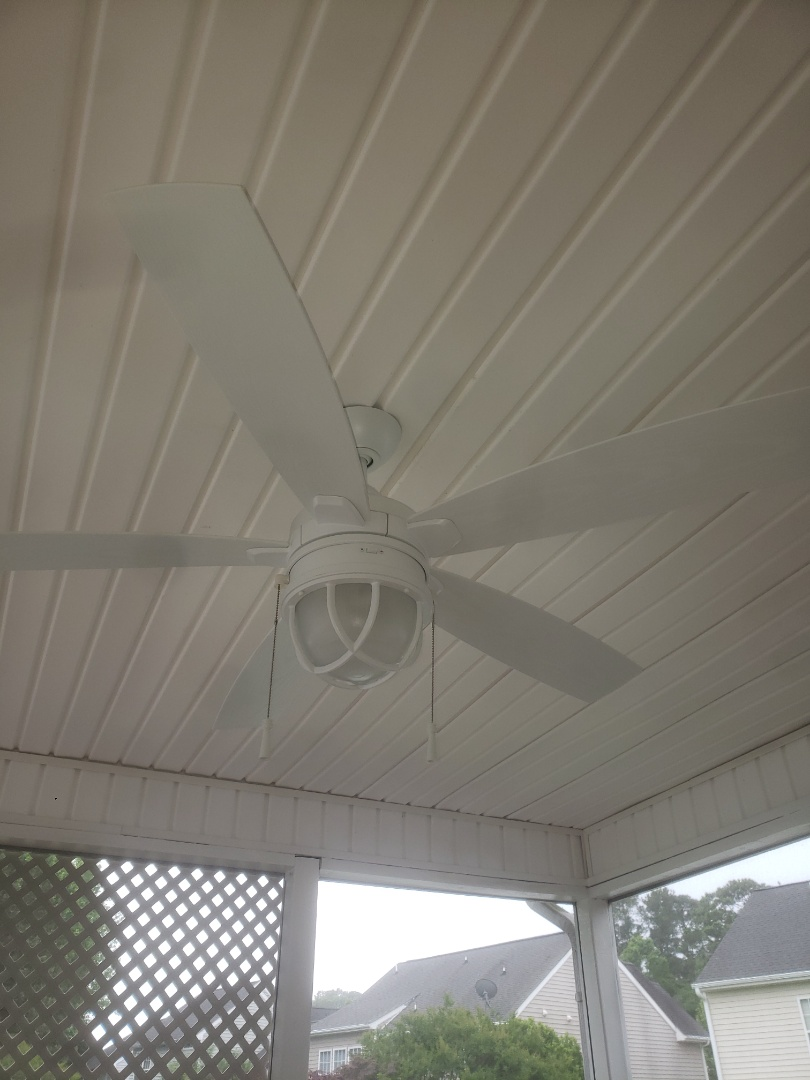 To install customer supplied ceiling fan and troubleshoot faulty circuit in garage