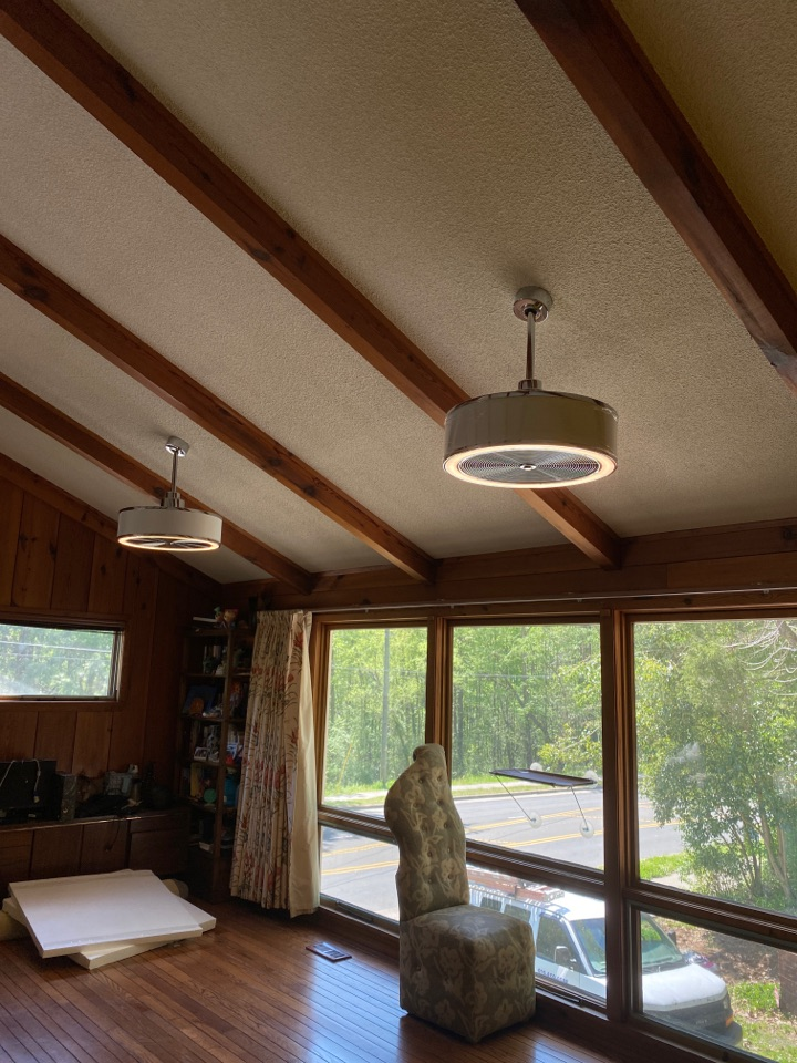 Installed customer supplied ring cameras and ceiling fan