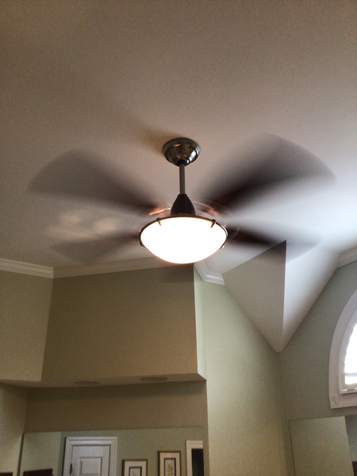 Remove chandelier and install ceiling fan in master bathroom.