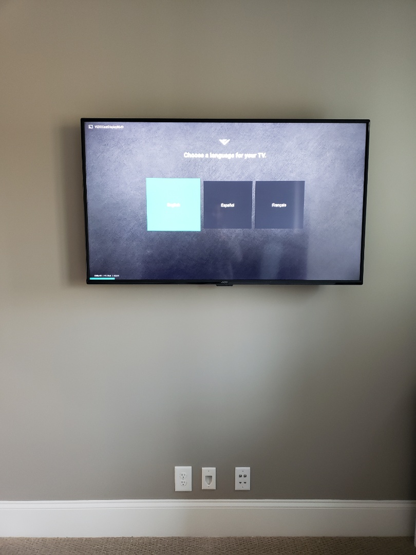 Install and mount new TV and outlet in the game room