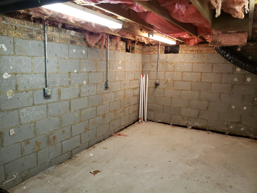 Support wires in crawl space