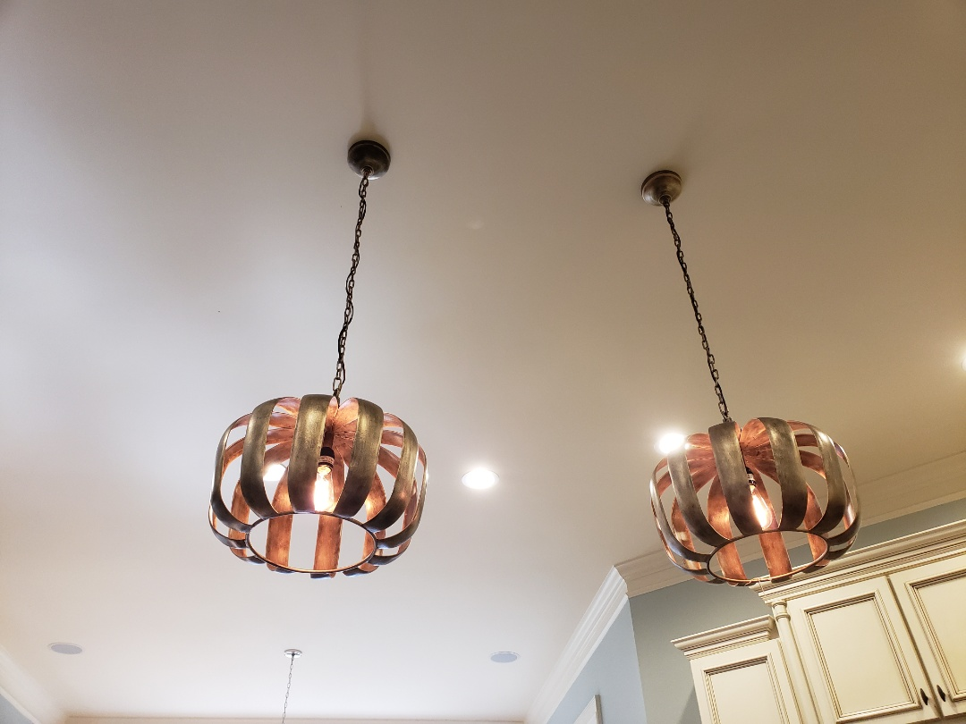 Install TV and pendent lights and dining light