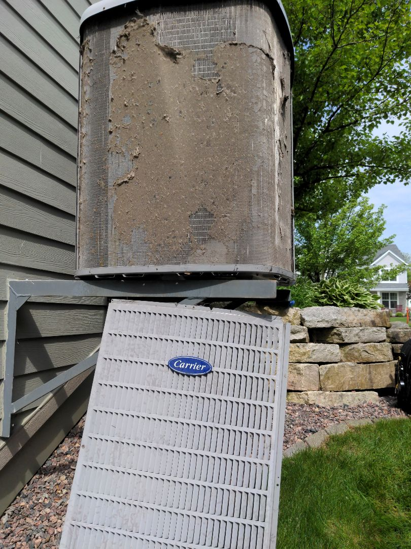 Grafton, WI - Carrier air conditioner maintenance. Dirty coil