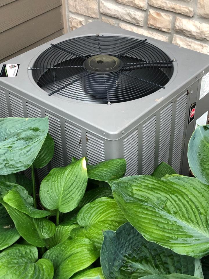 Brookfield, WI - Preformed maintenance. Tune up on Rheem Air Conditioner.