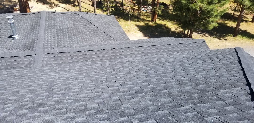 Bend, OR - This roof installed by Deschutes Roofing Company came out perfect! Using GAF Timberline HD. In Lapine, OR.