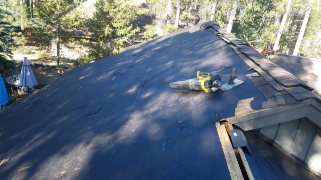 Sunriver, OR - Replacing a composition shingle roof in Bend with GAF Timberline Ultra HD architectural style shingles in Pewter Grey.