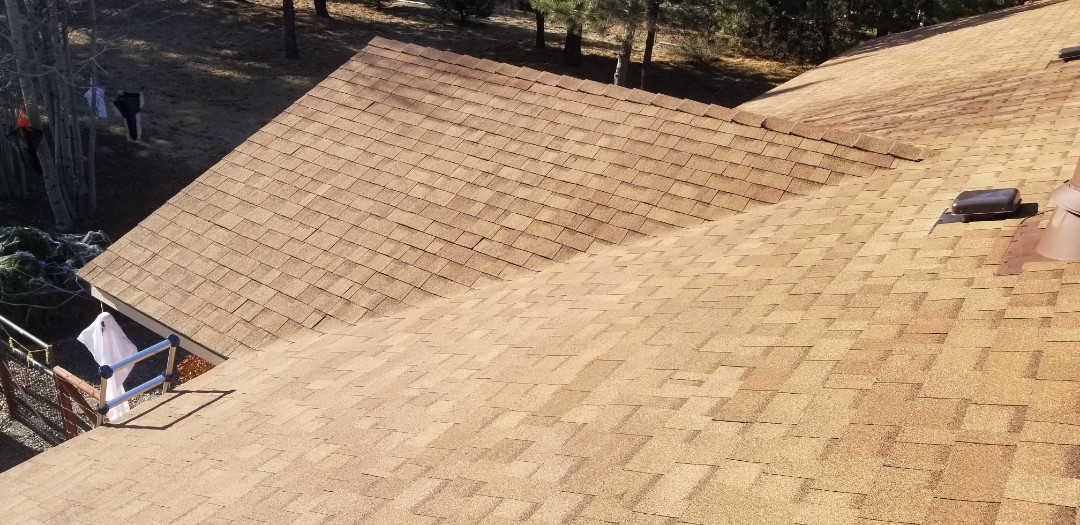La Pine, OR - Another beautiful installation of GAF Timberline HD Barkwood by Deschutes Roofing Company.