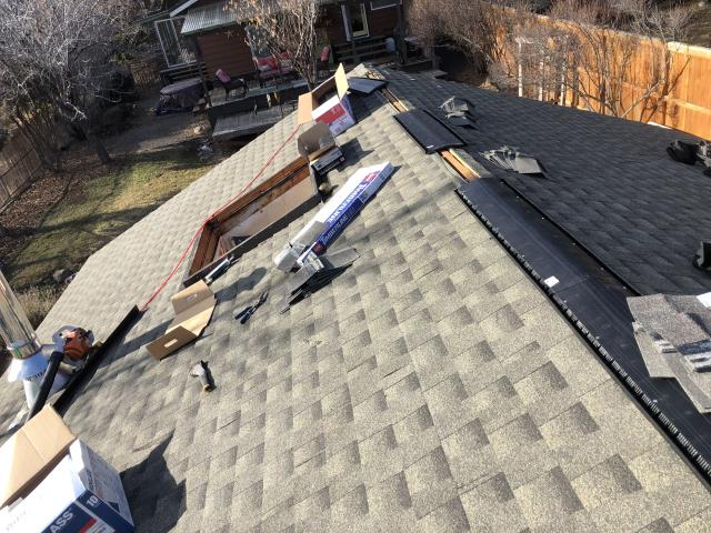 Bend, OR - Replacing a composition shingle roof in Bend with GAF Timberline HD architectural style shingles in Weathered Wood.