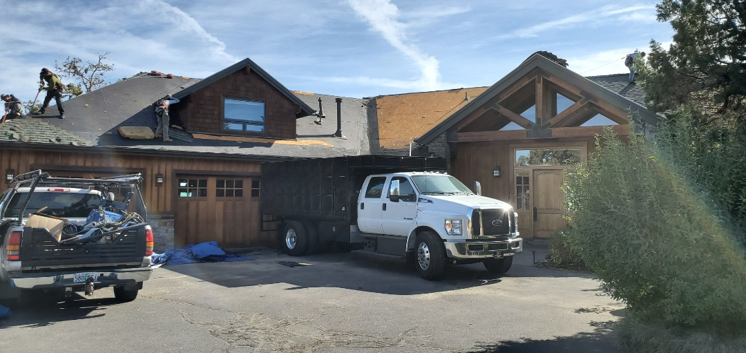 Bend, OR - Tearing off and prepping a roof in Tumalo to install GAF Timberline HDZ architectural style shingles in Charcoal.