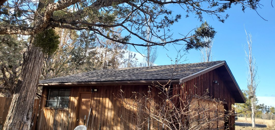 Bend, OR - Just finished installing GAF Timberline Ultra HD architectural shingles in Barkwood color on this garage in Tumalo.
