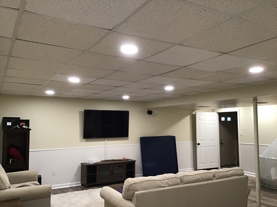 Millersville, MD - Installed LED recessed lighting in basement. Also installed multi switches.