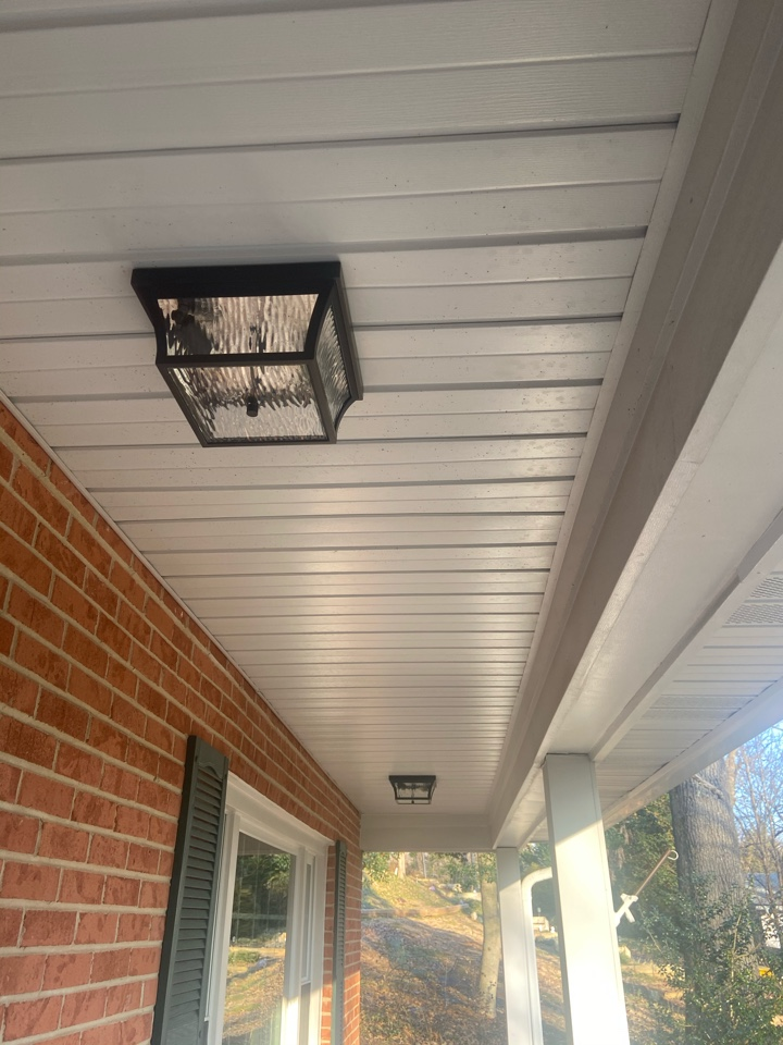 Arnold, MD - Installed two surface mount light fixtures on porch.