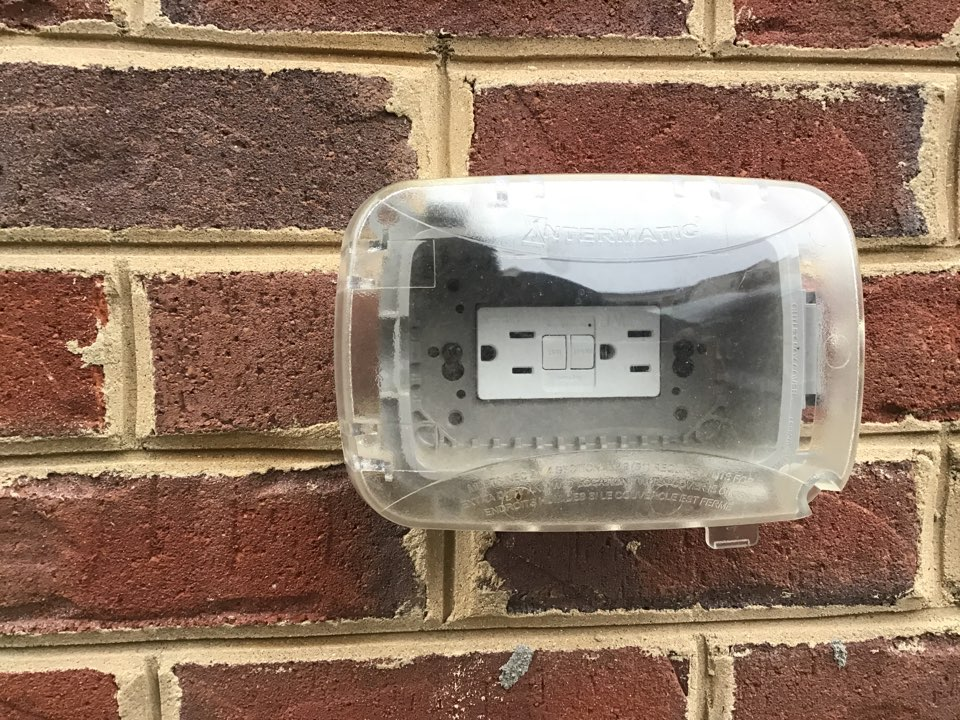 Severn, MD - Replaced exterior outlets with new weatherproof GFCI devices and repaired broken splices.