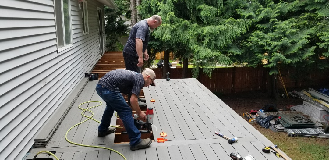Mountlake Terrace, WA - Azek Deck installation coming together beautifully.