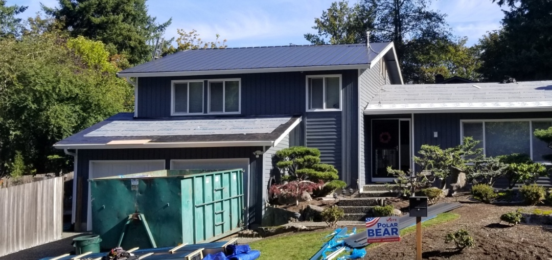 Bellevue, WA - Standing SEam metal roof install in progress today