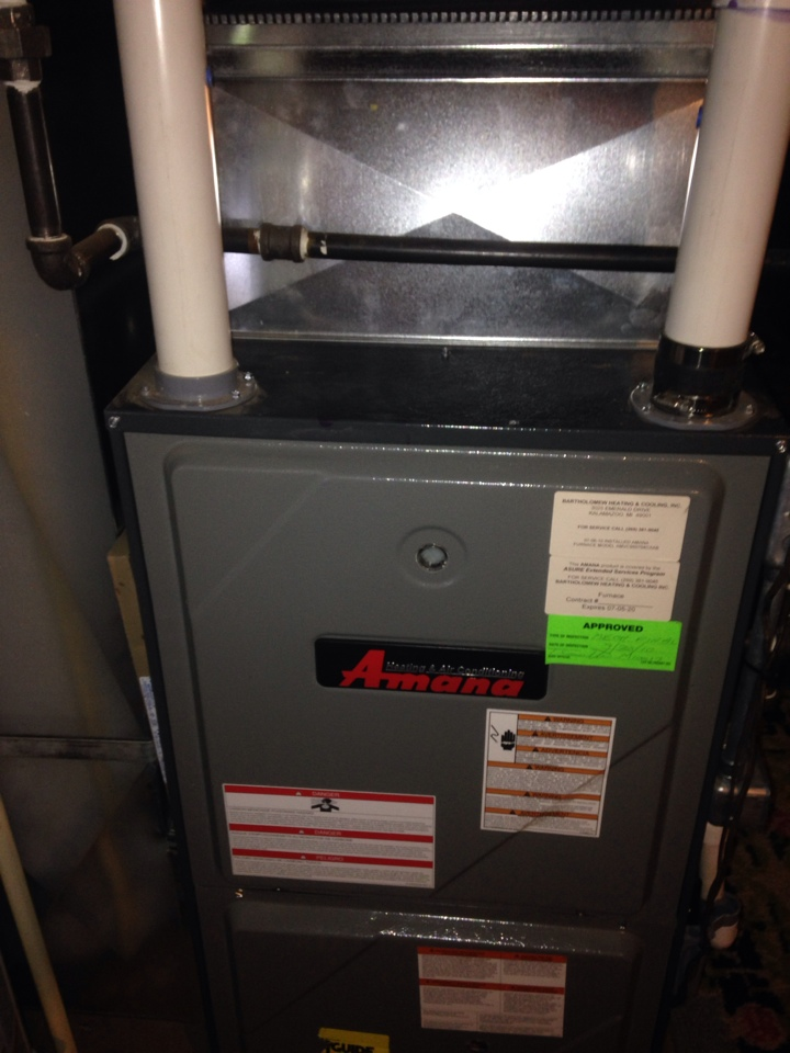 Climax, MI - Furnace tune up, perform annual maintenance on Amana gas furnace