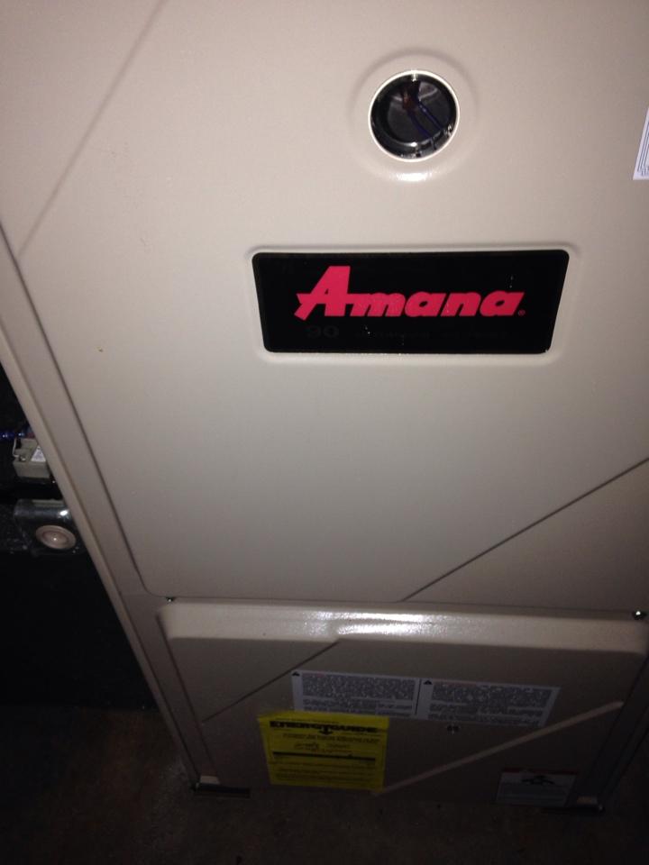 Oshtemo, MI - Furnace tune up, perform annual maintenance on Amana gas furnace