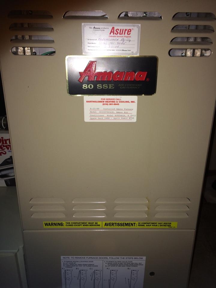 Oshtemo, MI - Amana annual furnace maintenance