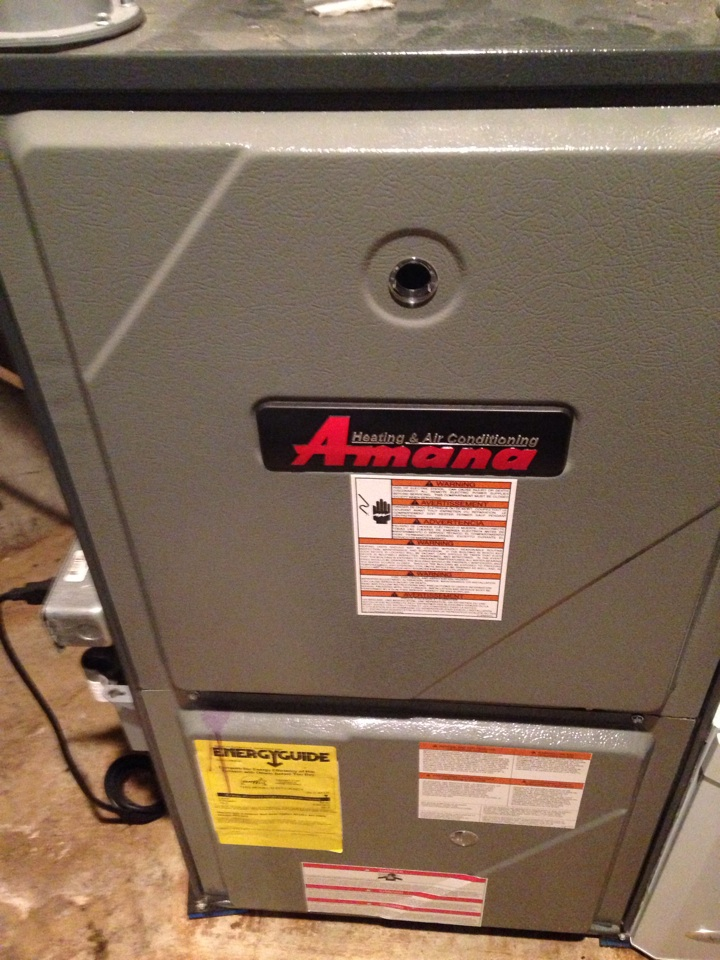 Furnace repair, replaced draft inducer motor, cleaned drain lines and flame sensor on Amana gas furnace