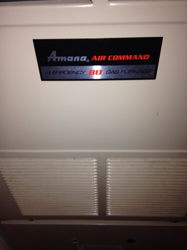 Oshtemo, MI - Furnace repair, replace igniter and air filter on Amana gas furnace, also cleaned burners and flame sensor and oiled motors