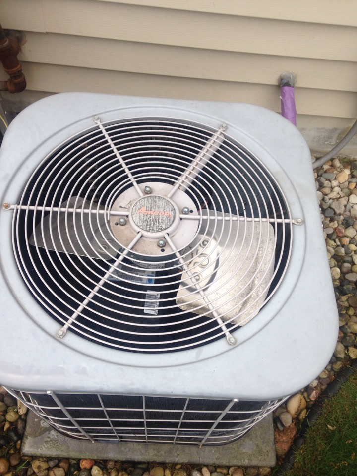 Portage, MI - A/C tune up, perform annual service on Amana air conditioner, clean condenser coil, checked Aprilaire media air cleaner, checked capacitor and contractor, checked electrical controls and amp draws, checked refrigerant levels